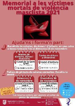 Dimecres 3 de novembre: Taller de Pintada de sabates vermelles- Projecte Comunitari: Memorial Víctimes mortals de Violència masclista