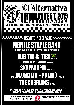 Aniversari L'Alternativa. Neville Staple Band · Keith & Tex · Skaparapid · The Cabrians i més!